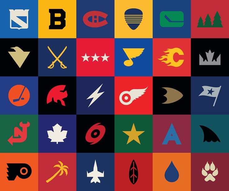 Minimalist versions of current NHL team logos