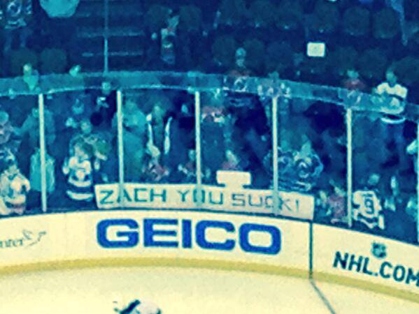 Devils fans welcome Zach Parise.