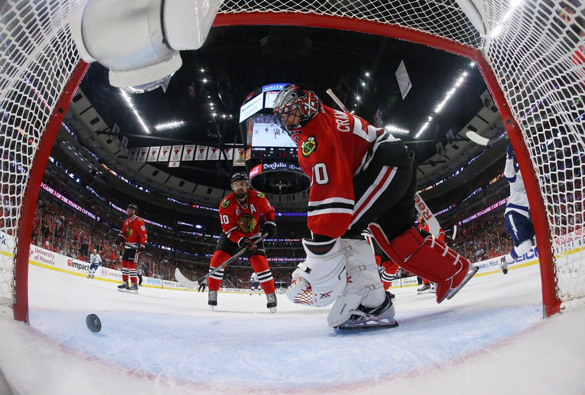 Jun 8, 2015; Chicago, IL, USA; Chicago Blackhawks goalie Corey Crawford (50) and left wing Patrick Sharp (10) react after a goal by Tampa Bay Lightning center Cedric Paquette (not pictured) in the third period in game three of the 2015 Stanley Cup Final at United Center. Mandatory Credit: Bruce Bennett/Pool Photo via USA TODAY Sports  / ReutersPicture Supplied by Action Images (TAGS: Sport Ice Hockey NHL)