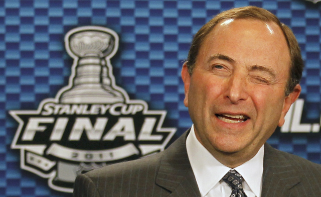 NHL Commissioner Gary Bettman attends a press conference before Game 1 of the NHL Stanley Cup Final hockey playoff in Vancouver