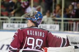 Goalie of Dinamo Riga Janis Kalnins (98) in the KHL regular championship game between Dinamo Riga and Dynamo Moscow, played on October 3, 2016 in Arena Riga